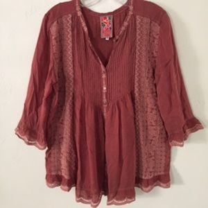 Johnny Was Embroidered Boho Tunic Top